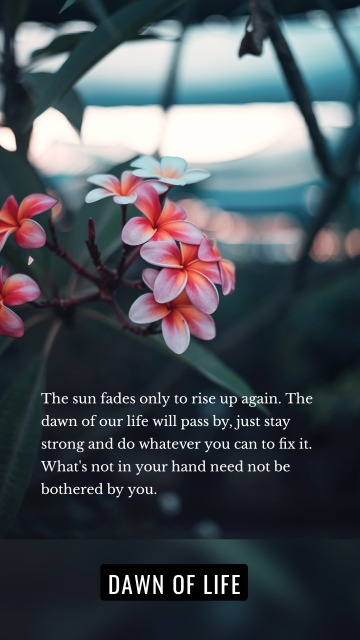 The sun fades only to rise up again. The dawn of our life will pass by, just stay strong and do whatever you can to fix it. What's not in your hand need not be bothered by you. Dawn of life